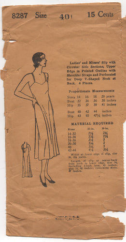 1920's Mail Order Slip Pattern with Circular Side Sections - Bust 40