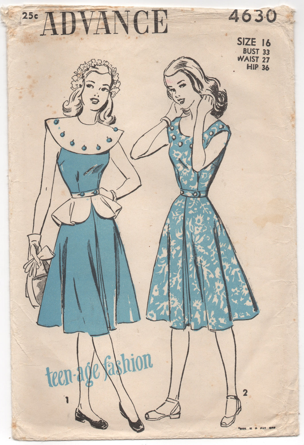 1940's Advance One Piece Dress with Detachable Large Collar and Peplum - Bust: 33