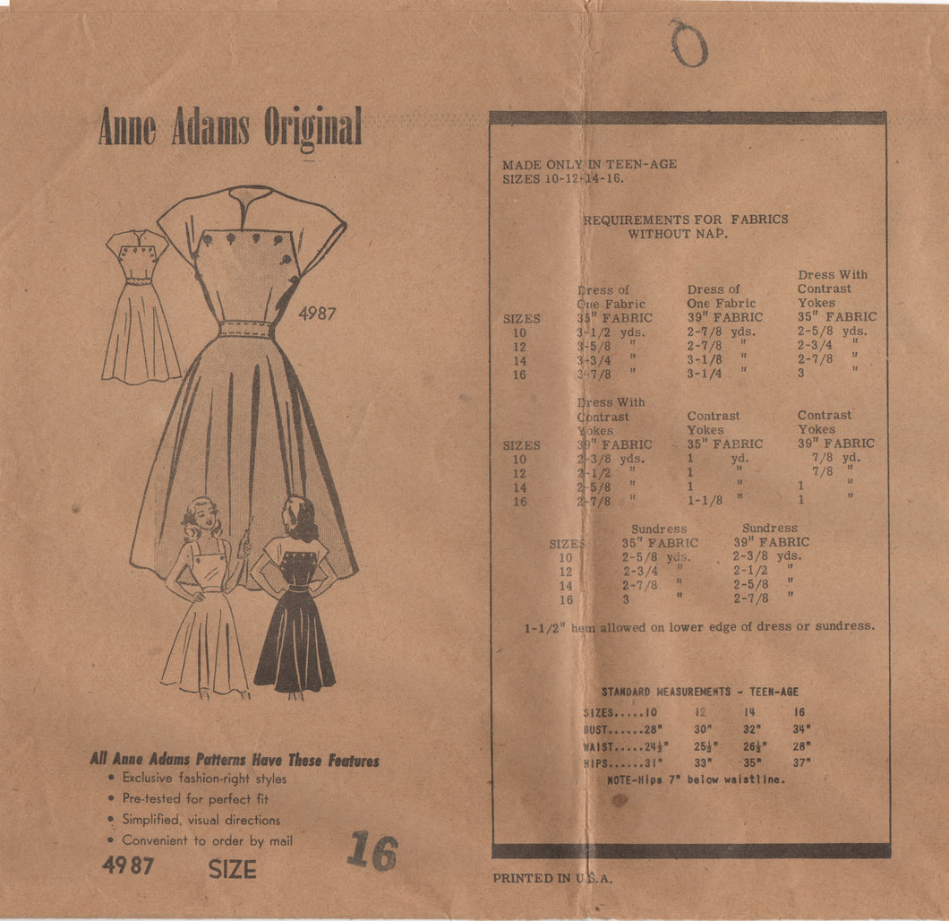 1940's Anne Adams One Piece Dress with Removable Yoke or Thin Straps - Bust 34