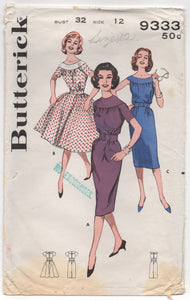 "1960's Butterick One Piece Dress with Bateau Neckline and Two Skirt Styles - Bust 32"" - No. 9333"