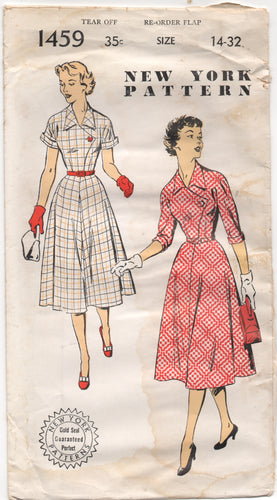 1950's New York One Piece Dress Pattern with Cross-over front flap - Bust 32