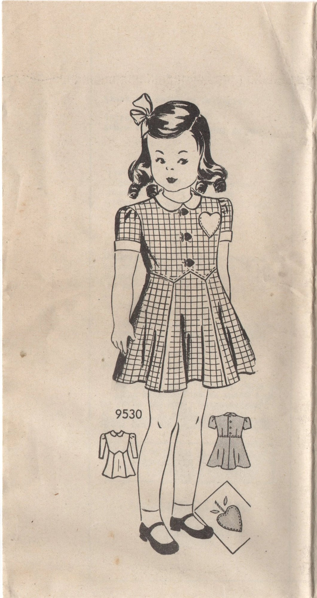 1940's Marian Martin Girl's One Piece Dress with Drop detail and Heart Pocket - Breast 26