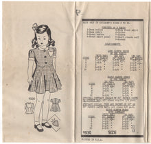 "1940's Marian Martin Girl's One Piece Dress with Drop detail and Heart Pocket - Breast 26"" - No. 9530"
