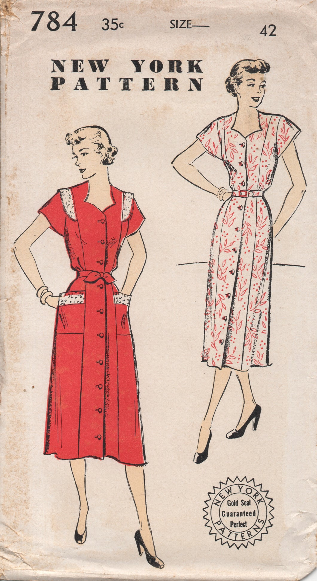 1950's New York One Piece Dress with Cut out Neckline and Pockets - Bust 42