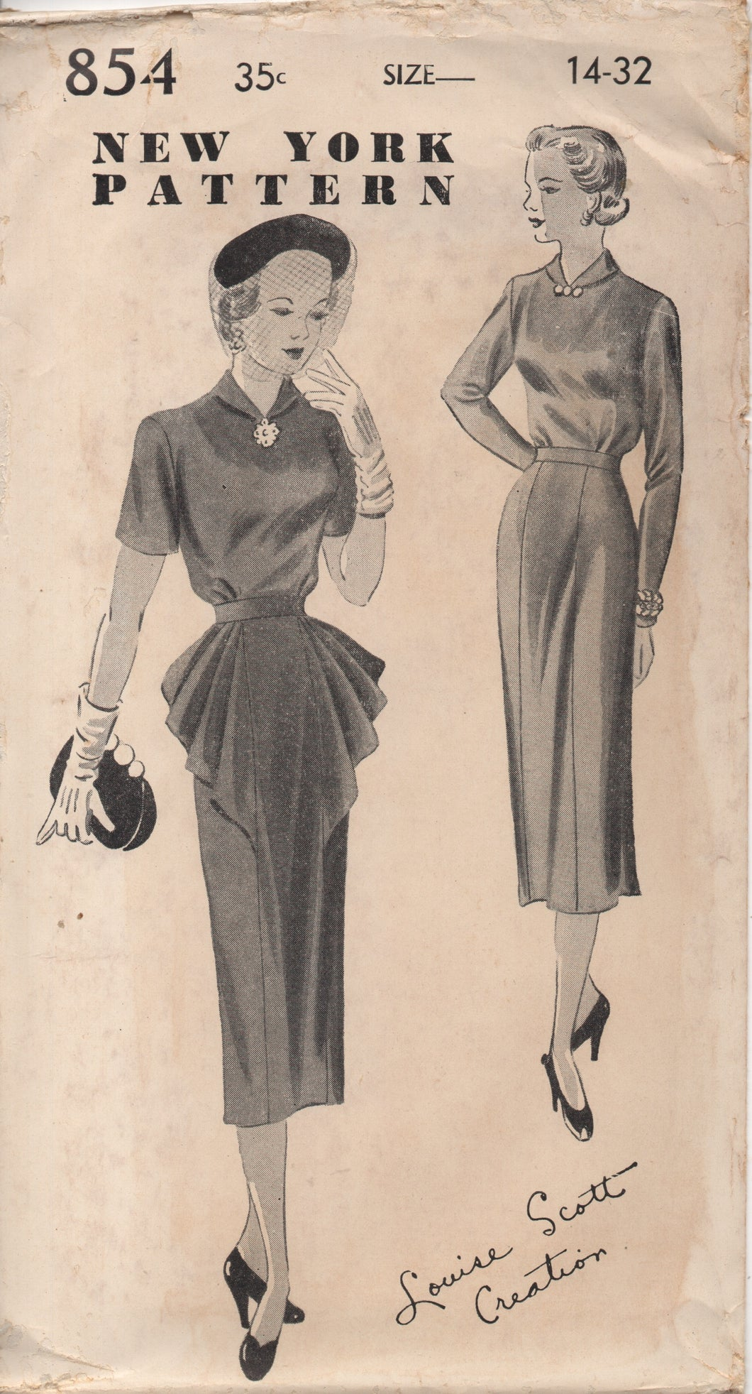 1940's New York by Louise Scott One Piece Dress with Plaited Draping in front and Two Sleeve lengths - Bust 32