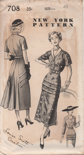 1940's New York by Louise Scott One Piece Dress with Tucked Peplum and Full Back - Bust 40