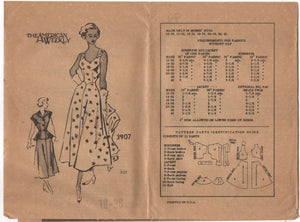 "1950's American Weekly Sundress with pointed front and Bolero with peplum - Bust 36"" - UC/FF - No. 3907"