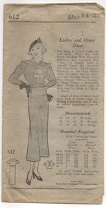 "1930's Mail Order Dress with Rolled Collar, Drop Shoulder and 2 Sleevelengths - Bust 32"" - No. 612"