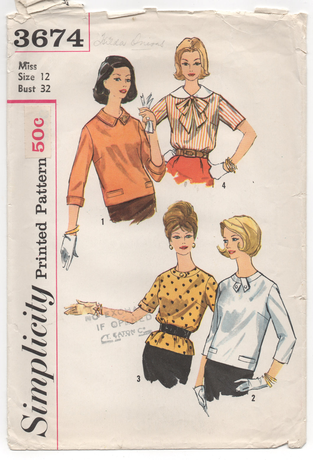 1960's Simplicity Blouse in 4 Styles, Bow, and Tab Accents - Bust 32