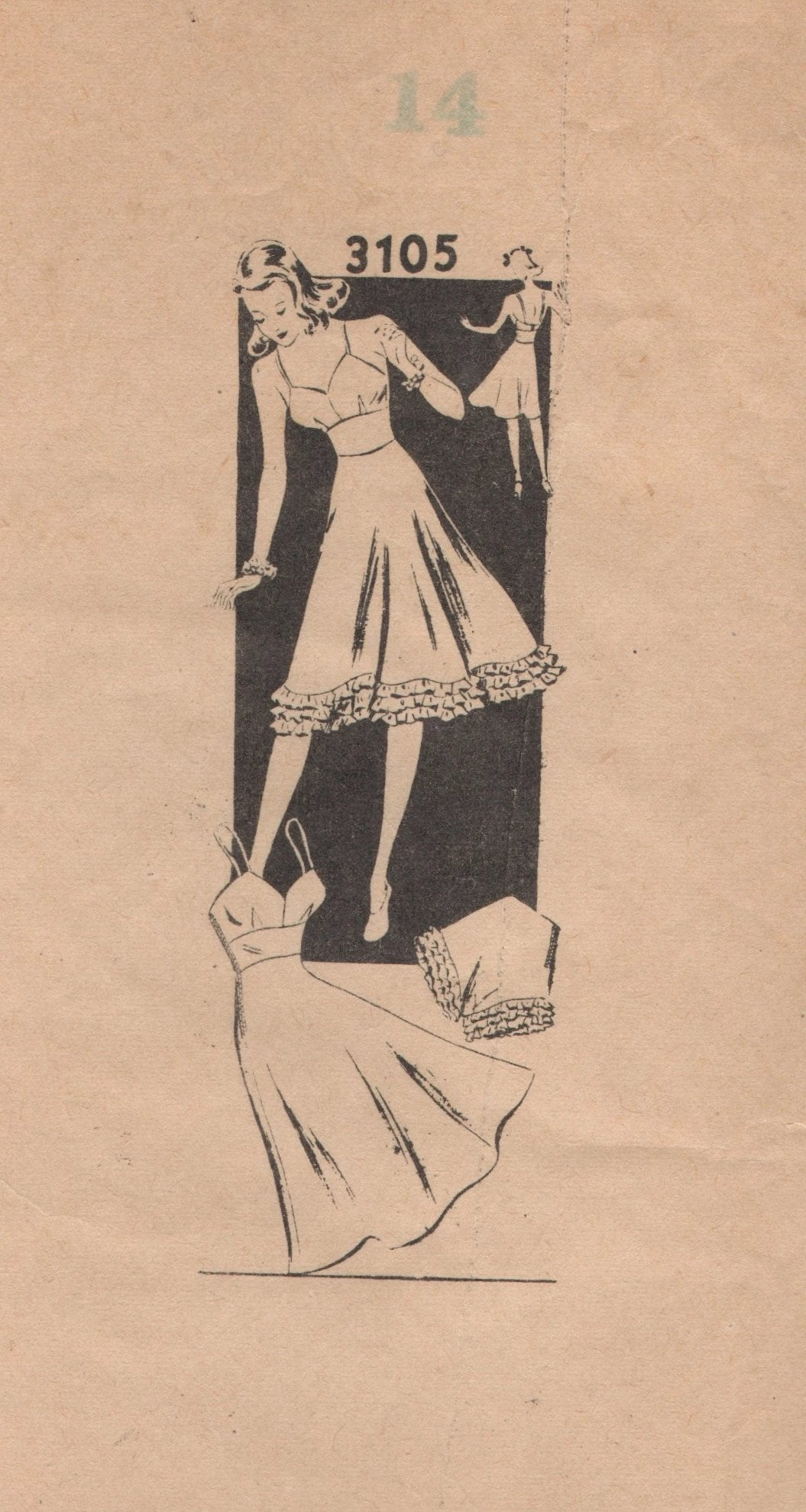 1940's Mail Order Full Slip (on grain or bias), Bra, Panties Pattern - Bust 32