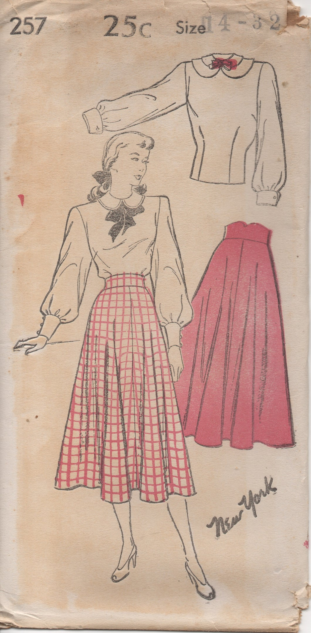 1940's New York Blouse with Button Up Back and Four Gore Circular Skirt - Bust 32