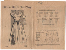 "1950's Marian Martin One Piece Sweetheart Neckline Dress Pattern - Bust 30"" - No. 9198"
