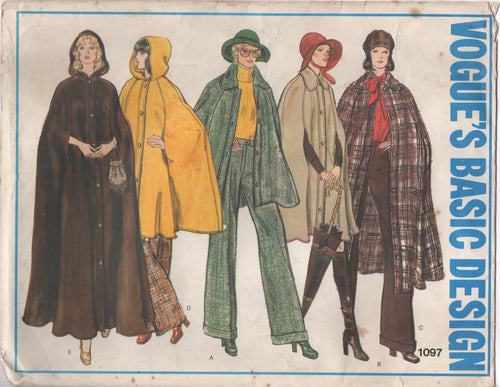 1970's Vogue Basic Design Cape pattern in two lengths - Bust 34
