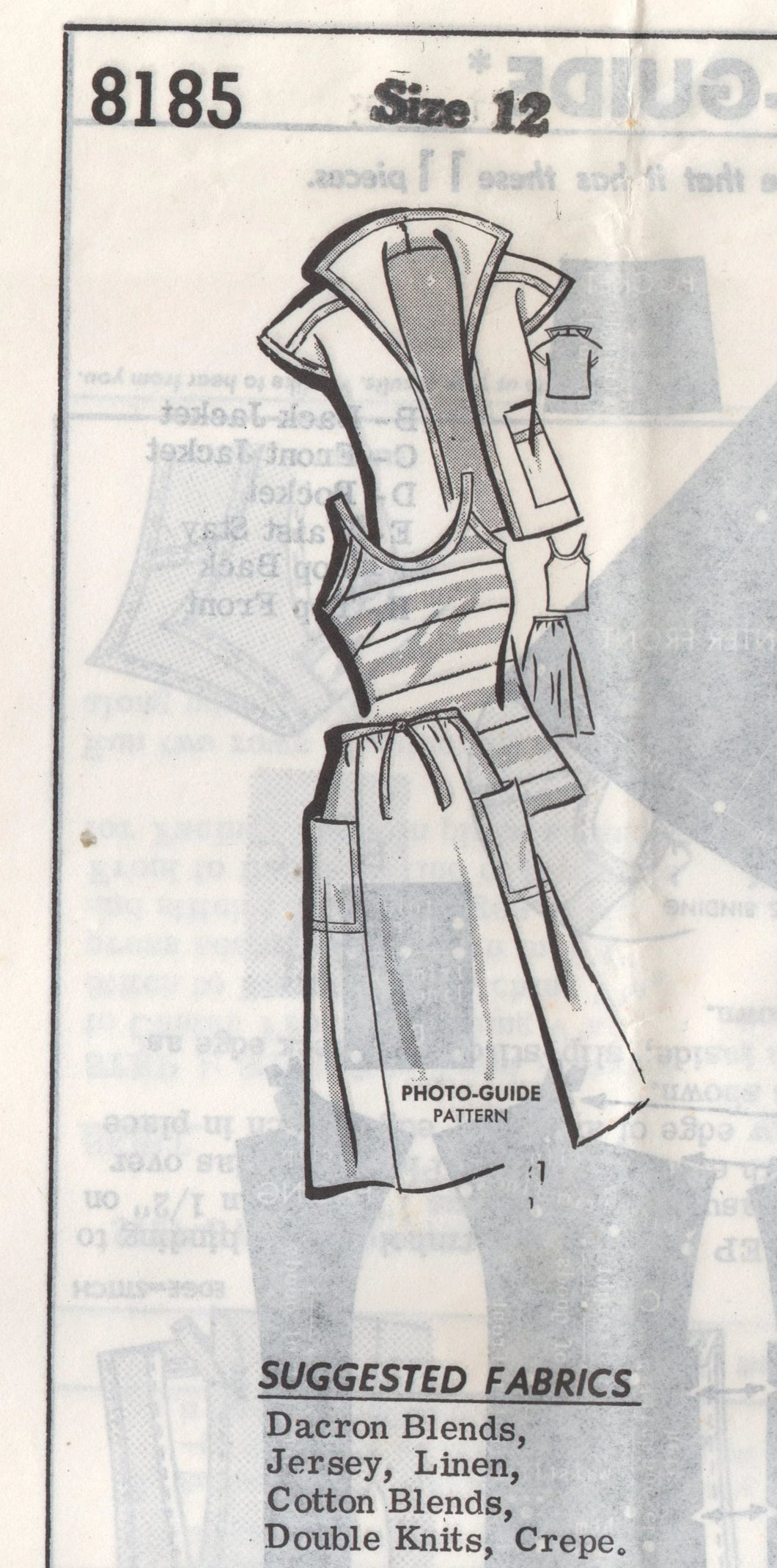 1960's Mail Order 3 Piece Outfit, Jacket, Top and Skirt Pattern - Bust 34
