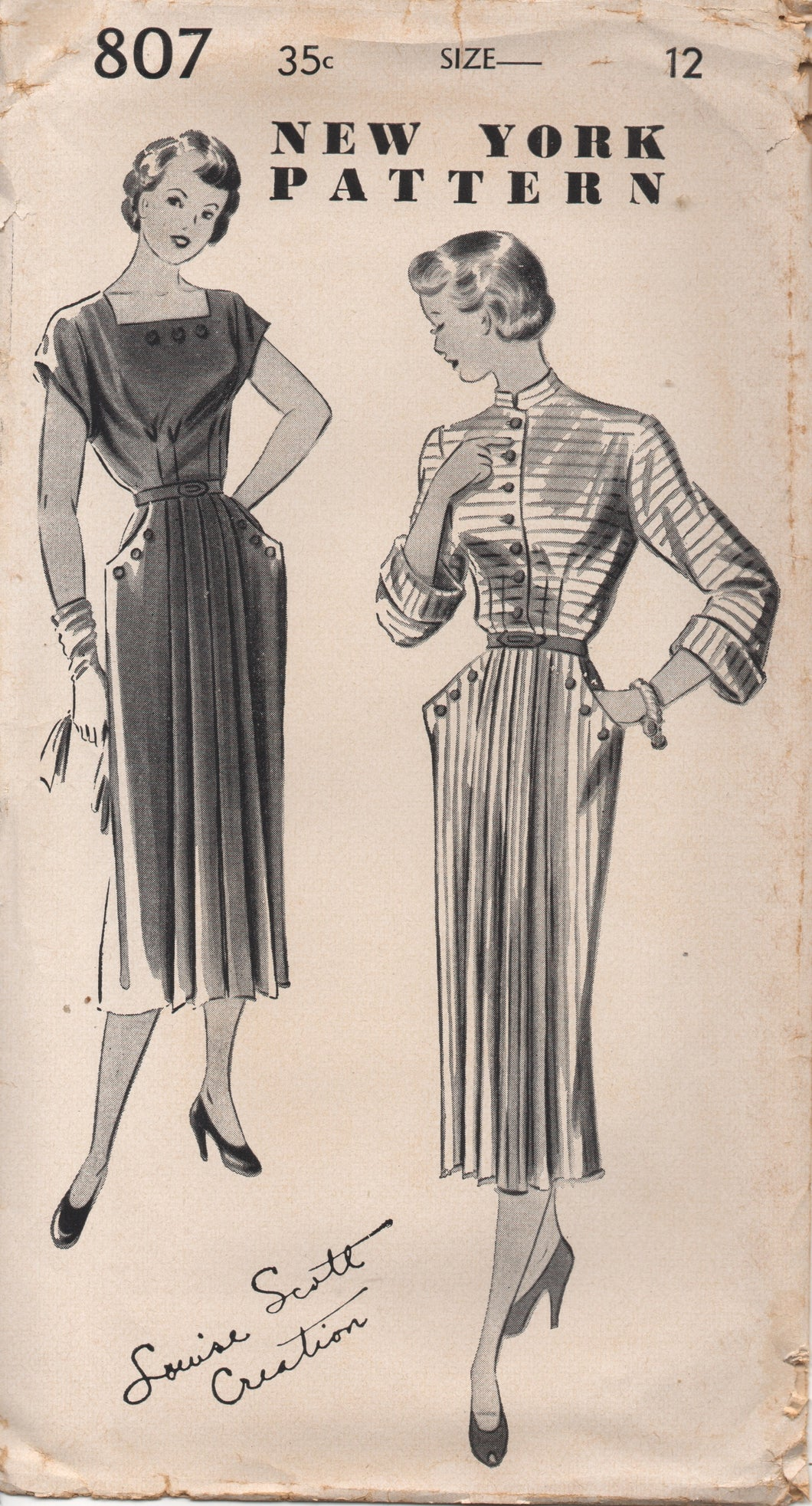 1950's New York by Louise Scott One Piece Dress with Pleated Front, Button Pockets and Two Necklines - Bust 30