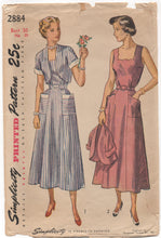 "1940's Simplicity Day Dress with Scallop or Straight edge Neckline and Bolero - Bust 36"" - No. 2884"