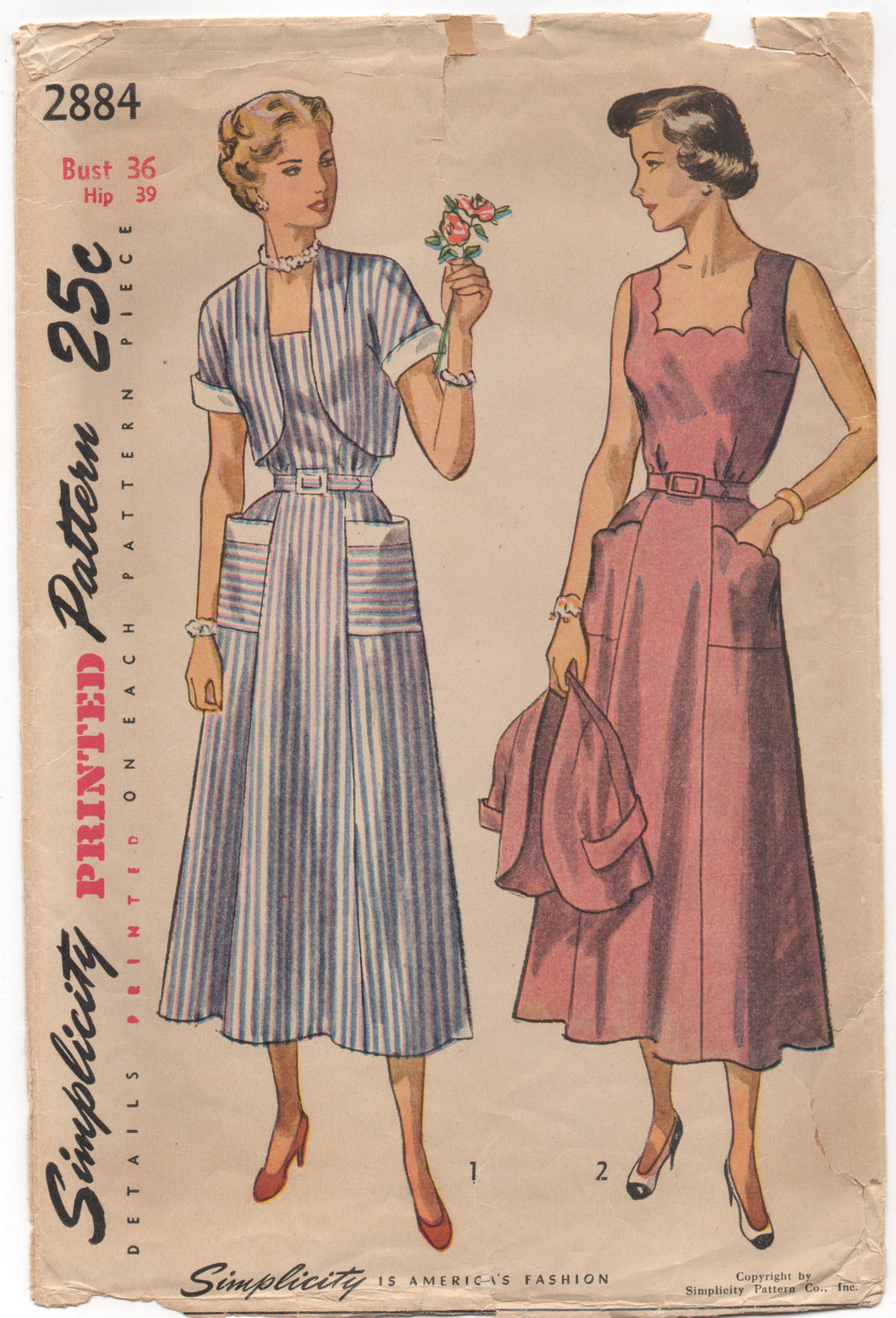 1940's Simplicity Day Dress with Scallop or Straight edge Neckline and Bolero - Bust 36