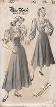 "1940's New York by Louise Scott Blouse with Two Sleeves, Girdle Vest and Skirt - Bust 33"" - UC/FF - No. 322"
