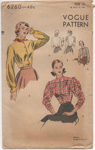 "1940's Vogue Blouse with Two Sleeve Styles - Bust 30"" - no. 6260"