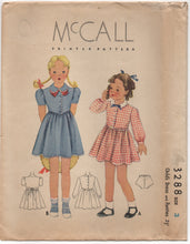 "1930's McCall Girl's One Piece Dress with Drop down waist and Panties - Chest 22"" - No. 3288"