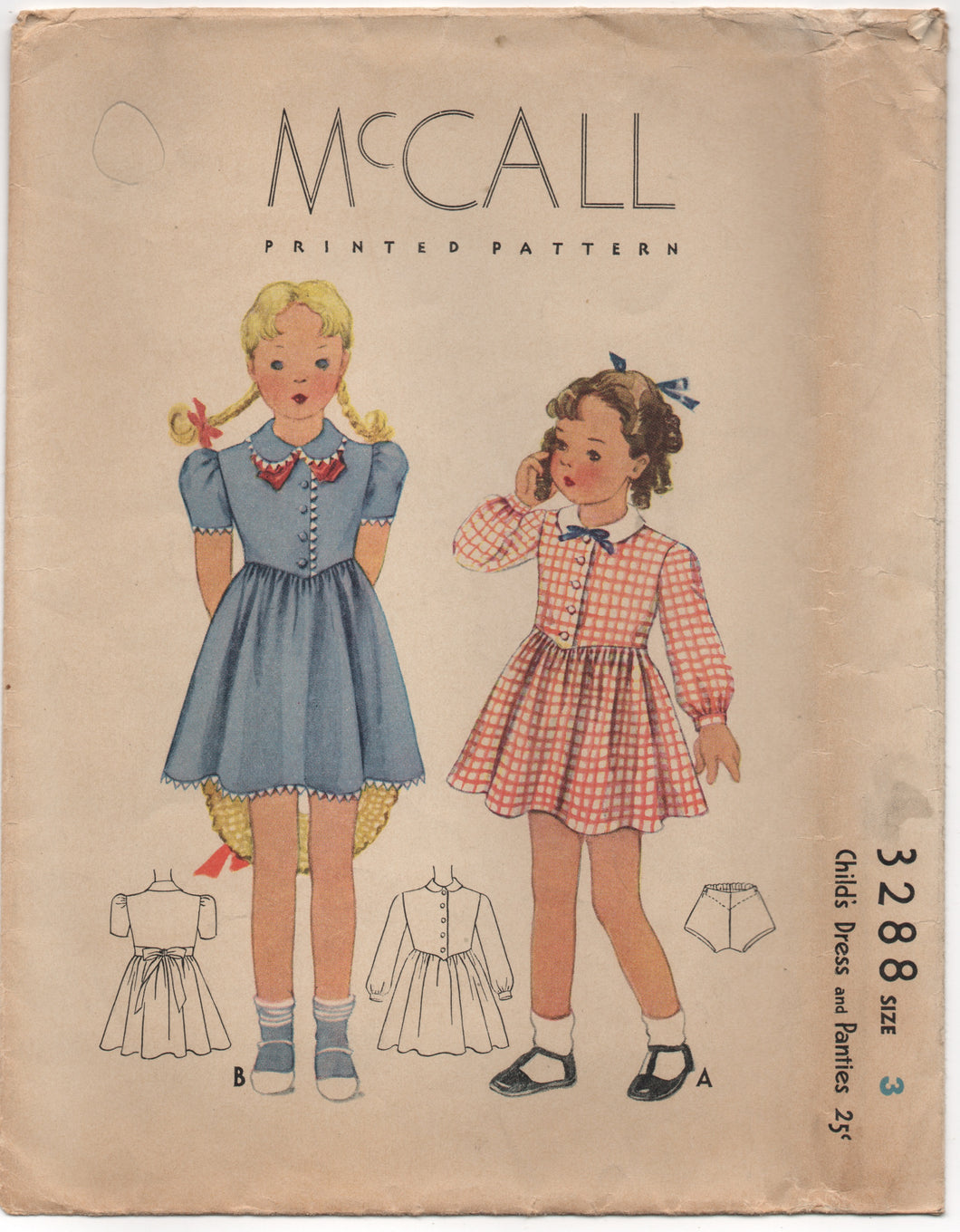 1930's McCall Girl's One Piece Dress with Drop down waist and Panties - Chest 22