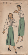 "1940's New York Skirt with scallop skirt yoke or straight skirt - Waist 26"" - Complete - No. 332"