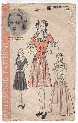1940's Hollywood One Piece Dress with Drop Waist and Bow detail - Bust 30