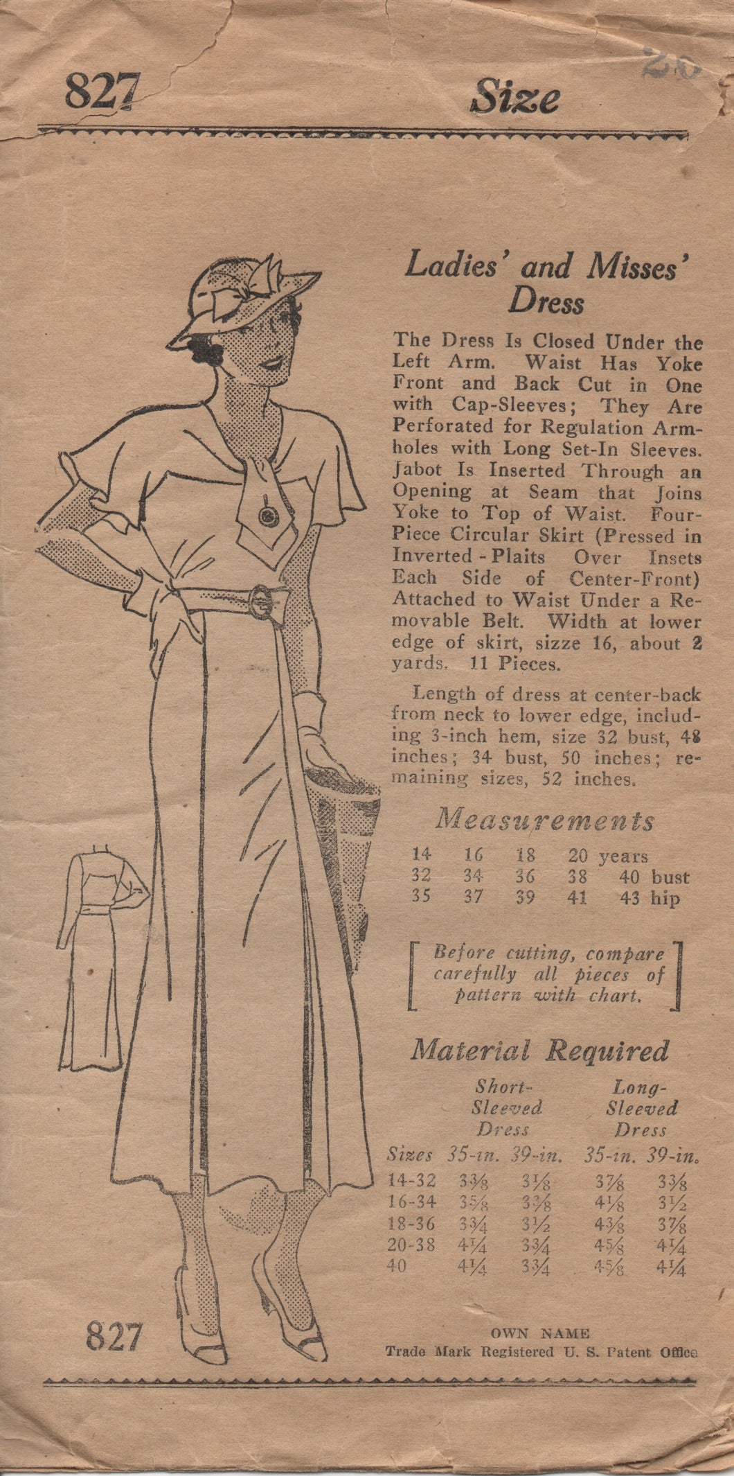 1930's Mail Order One Piece Dress with Yoke into draped cape sleeves - Bust 38
