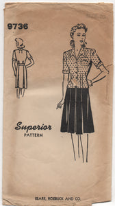 "1940's Superior Sears, Roebuck & Co. Two Piece Dress with Fitted Jacket and Gored skirt - Bust 38"" - No. 9736"