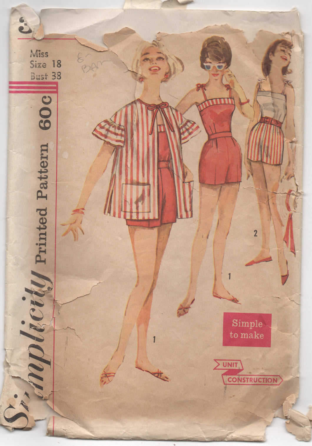 1960's Simplicity Summer Outfit, Top with Tie straps, Shorts, and Cover Up - Bust 38