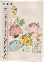 1960's Simplicity Half Apron with Watermelon and Fruit Transfer - OS - No. 4180