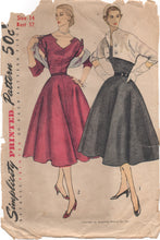 "1950's Simplicity One Piece Dress with Detailed collar - Bust 32"" - No. 8462"