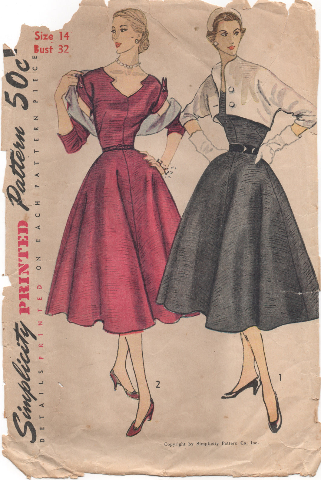 1950's Simplicity One Piece Dress with Detailed collar - Bust 32
