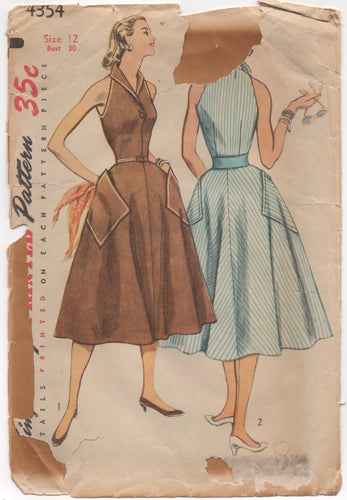 "1950's Simplicity One Piece Sleeveless Dress with Button Front & Large Pockets - Bust 30"" - No. 4354"