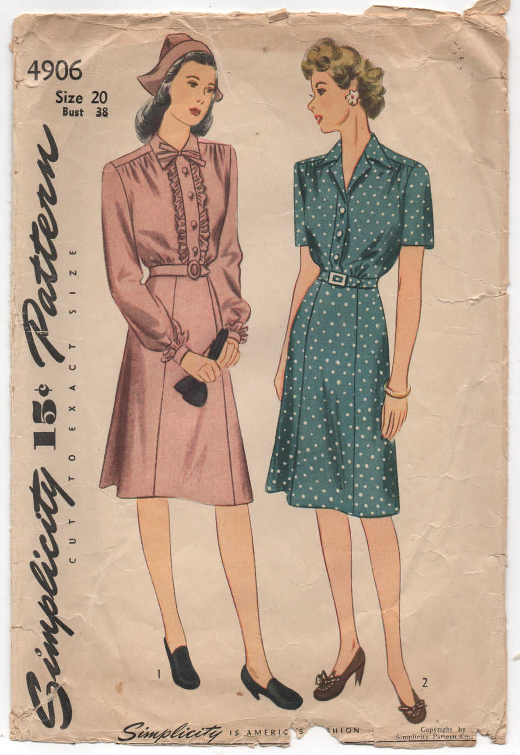 "1940's Simplicity One Piece Shirtwaist Dress with Ruffles - Bust 38"" - No. 4906"