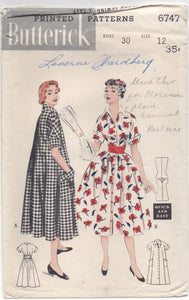 "1950's Butterick One Piece House Dress ""Morning Dress"" - Bust 30"" - No. 6747"