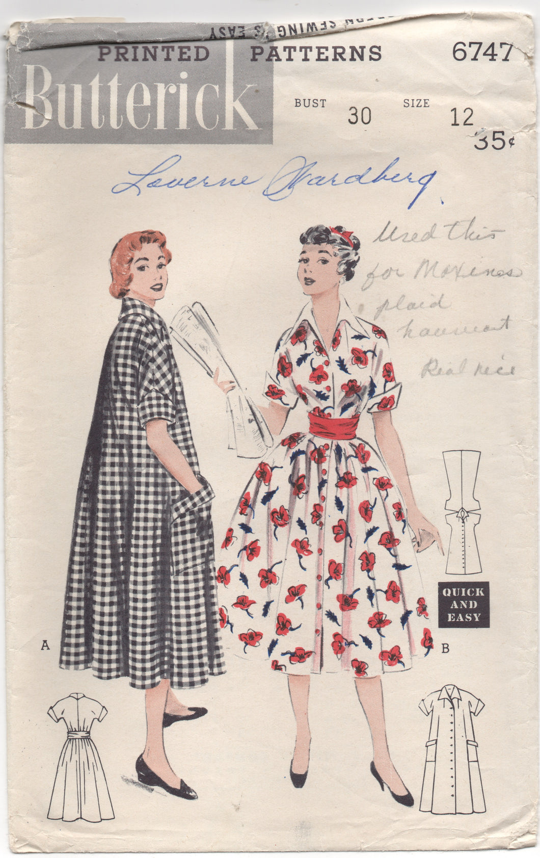 1950's Butterick One Piece House Dress