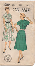 "1950's New York One Piece Dress with large yoke - Bust 32"" - UC/FF - No. 1219"