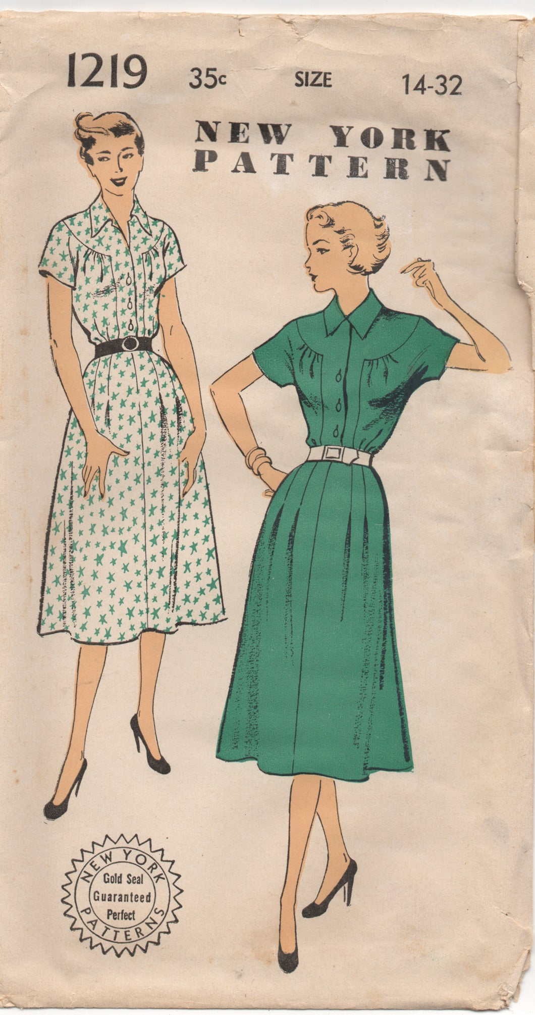 1950's New York One Piece Dress with large yoke - Bust 32