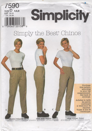 1997 Simplicity Simply the Best Chinos - Waist 23-24-25