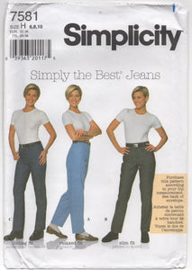 "1997 Simplicity Simply the Best Jeans - Waist 23-24-25"" - UC/FF - No. 7581"