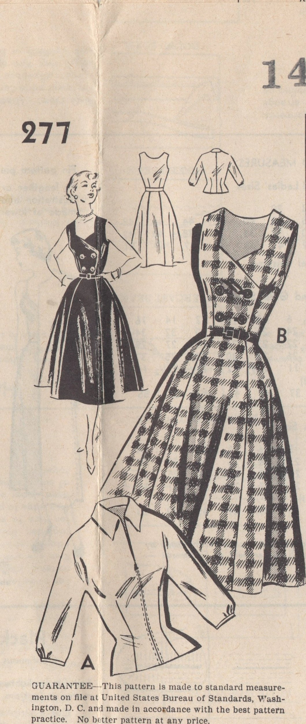 1950's Star Pattern Mail Order One Piece Dress with Double Breasted and Blouse - Bust 32