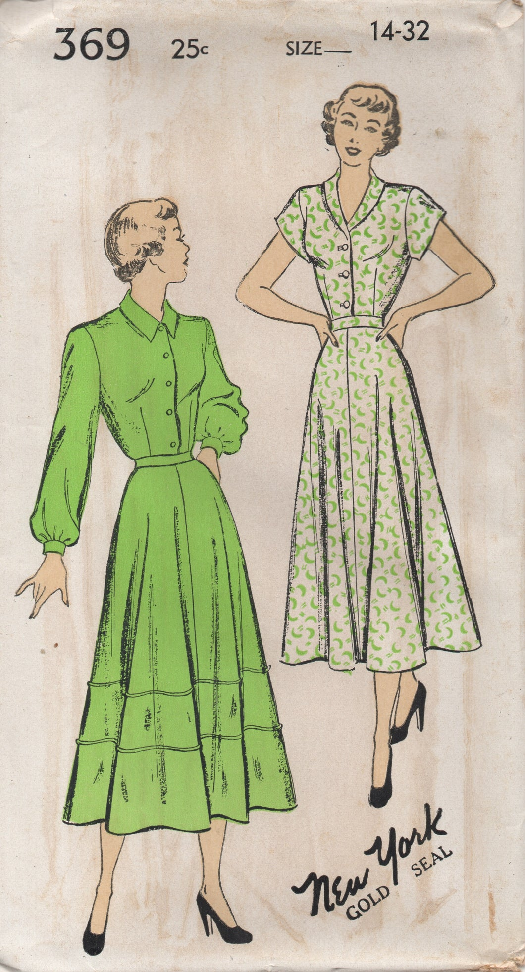 1940's New York Shirtwaist Dress with Two Sleeve lengths and Trimmed Skirt - Bust 32