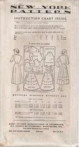 "1940's New York Shirtwaist Dress with Two Sleeve lengths and Trimmed Skirt - Bust 32"" - UC/FF - No. 369"