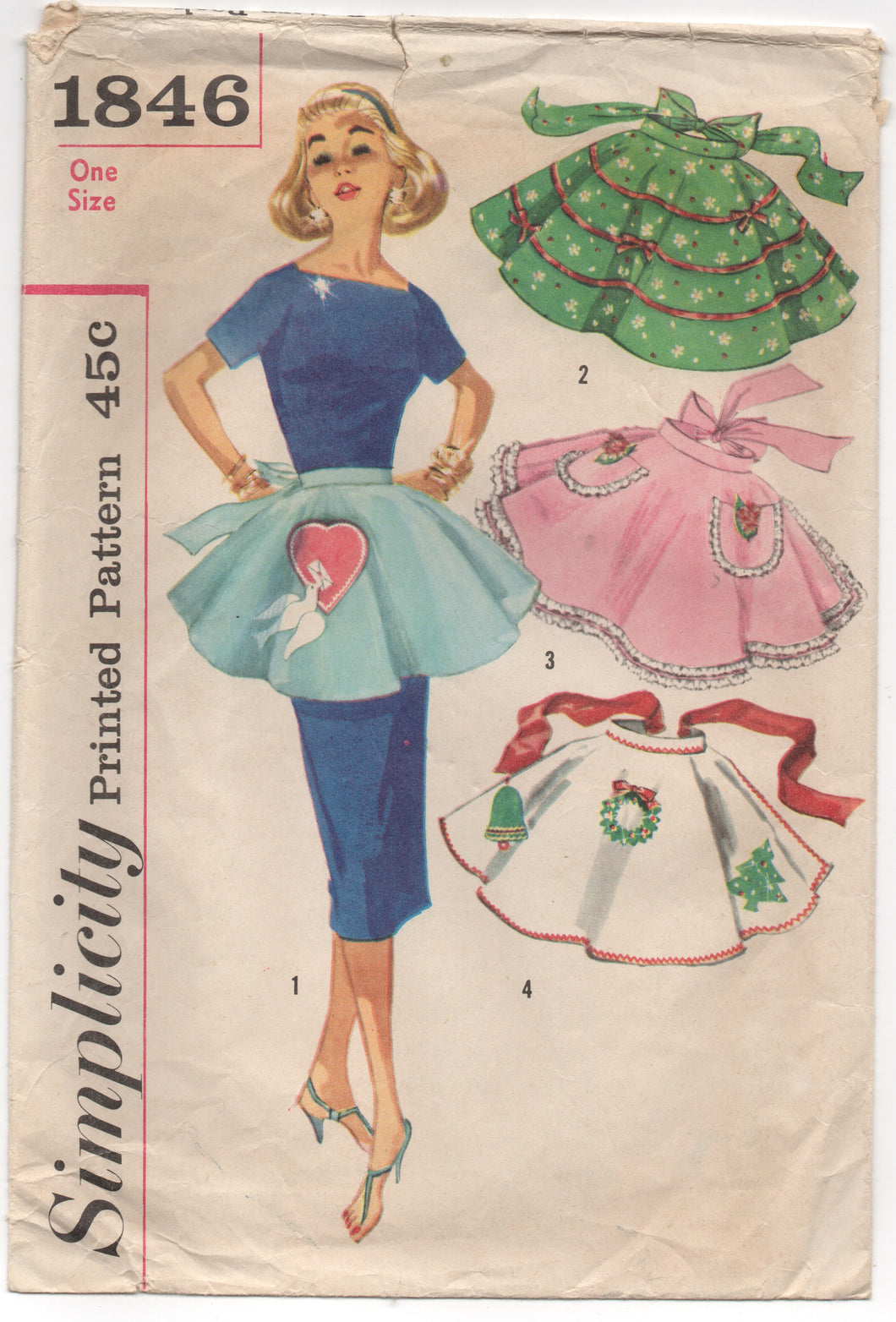 1950's Simplicity Half Apron with Pockets and Unused Christmas and Heart Transfer Pattern - One size - no. 1846
