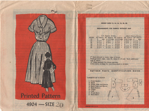 "1950's Mail Order Shirtwaist Dress with Turned cuffs - Bust 40"" - No. 4904"