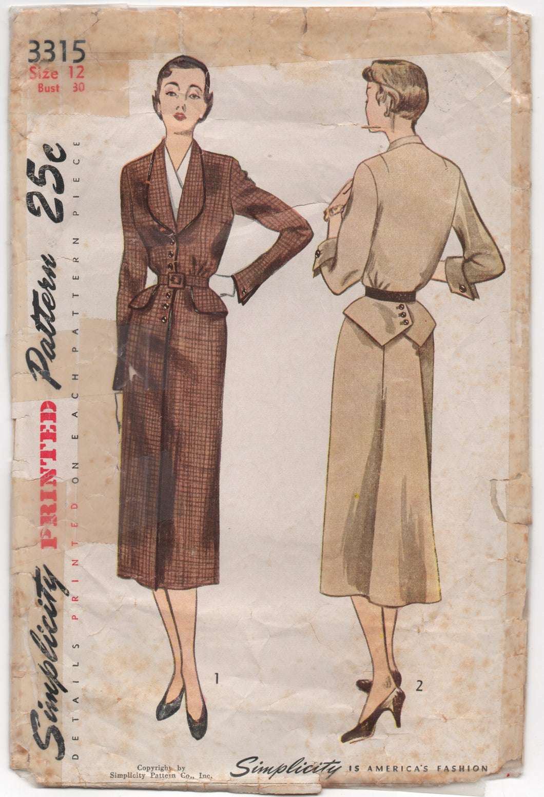 1950's Simplicity One Piece Dress with Button Front, Cross Peplum, and Dickey - Bust 30