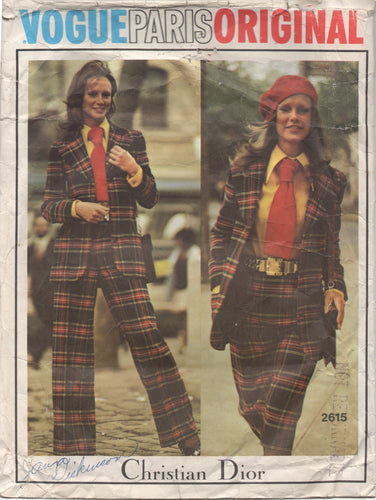 1970's Vogue Paris Original Pants, Jacket, Skirt, Tie and Blouse - Bust 34