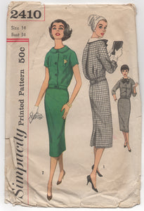 "1950's Simplicity Two Piece Dress with Slim Skirt and Detachable Collar and Bow - Bust 34""- No. 2410"