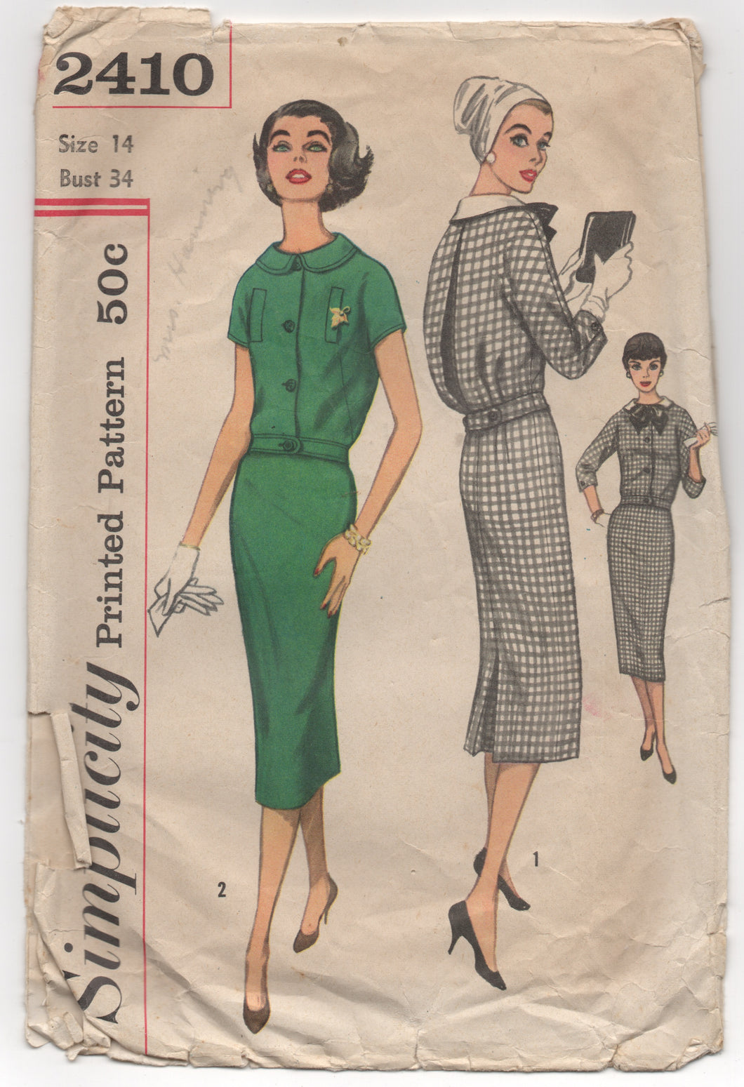 1950's Simplicity Two Piece Dress with Slim Skirt and Detachable Collar and Bow - Bust 34